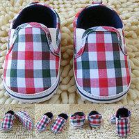 Boy Kids Slip-On Plaid Toddler Shoes Soft Sole Crib Shoes Infant Baby Prewalkers
