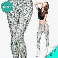 leggings print dollar Fashion Sexy Harajuku 3D Digital Print Leggings Winter Fitness High Elastic Punk Women Pants