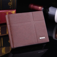 New Brand PU Leather Standard Wallets Synthetic Leather Purse Vintage Casual Striped Brown 2 Fold Soft Men Wallets Short Wallet