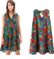 summer new European  American women's retro print lapel female wild loose A-line dress