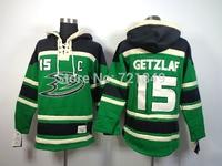 hot sale hoodies hockey jersey anaheim ducks 15 Ryan Getzlaf green hooded sweatshirt,mix order,embroidered logos name