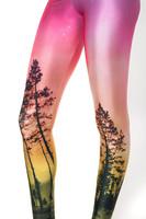 LuckDy Hot! 2014 New Women Pink sky tree Digital Black Printed Milk Vintage leggings Plus Size Pants For Women