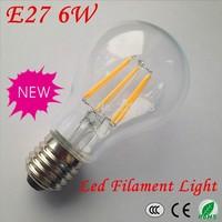 Free shipping!1XLed Lamp E27 6W Led Bulb Light AC 85-265V Warm White Light With 6 pcs Led Filament 660LM 360 Degree E27 Led Bulb
