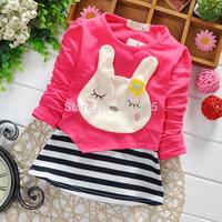 New 2015 Children Spring Clothes Girls' T-shirts Striped Baby Girls Long Sleeve T-shirt Bunny Children Tees Kids Top Wear