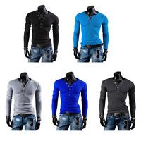 Men Button V-neck Long Sleeve Slim Fit T-shirt Solid Blouse Base Tee Shirt M-XXL