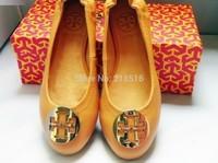 2015 Hot's Women 100% Genuine Leather Lambskin Metal Ballet Flat Slip-On Casual Designer Shoes Size 35-41