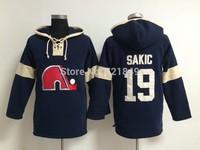 Quebec Nordiques 19 Joe Sakic Jersey,Adult Men Nordiques #19 Sakic ice Hockey Jerseys Authentic Stitched Logos Free shipping