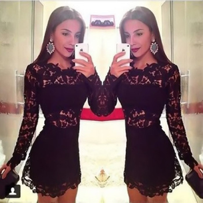 New 2015 Women Crochet Black Lace Dress Mini Party Dress Sexy Bodycon Vestido De Festa Renda Patchwork Sheer Hot Club Dress(China (Mainland))