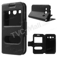 Free shipping 1pc/tvc-mall Dual Windows Leather Stand Cover for Samsung Galaxy Ace 4 SM-G357FZ / Ace Style LTE G357