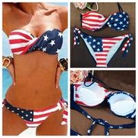 high quality Sexy triangle bikini Sets Flag Swimsuit Swimwear Bathing Suit bra&underpants Padded Micro For Women summer dress