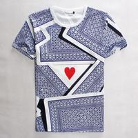 [Magic] Free shipping 2015 Men/Women t shirt red star and poker printing 3D High quality hip hop man T- shirt 1869 size s-xl