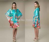 2015 New Summer 100% Mulberry Silk Pajamas Loose Big Yards Multicolor Batwing Recreational Leisure Wear Dress Lotus Nightdress