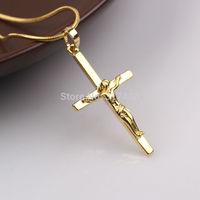 24k Yellow Gold Men's Or Womens Cross Pendant JESUS CHRIST CRUCIFIX Pendant Chain
