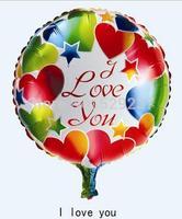 Free Shipping~ 10pcs/lot 18 inch Wholesale helium Aluminum foil round balloon/ I LOVE U balloon