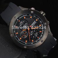 2015 TOP NEW Sport watch Casual Man Watch Big Hours Stainless steel case Male Quartz Watch Curren Rubber Wriswatch black watches