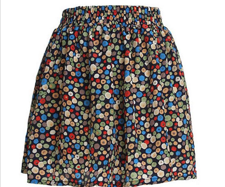 Бесплатная доставка дамы ретро горячая высокая талия плиссированные цветочные шифона чисто короткое мини платье 2015 новое поступление продвижение