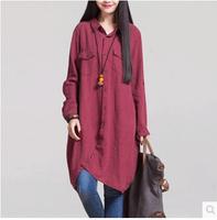Women Long Cotton Shirt Turn down Collar Long Sleeve Female Loose Blouse Single Breasted Irregular Mori Girl Shirt