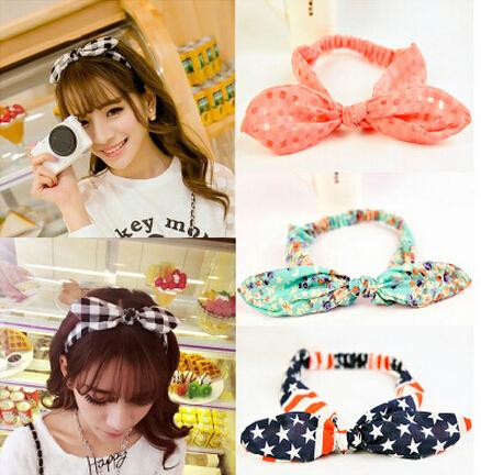Women Hair accessories cute chiffon bunny rabbit ear hairband diy headband hair band accessory Girls hairbands(China (Mainland))