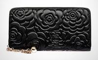 new women purses genuine leather purse for women bag fashion brand designer printed flower leather wallet clutch purse handbags