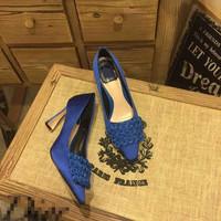 Mesh stain flora high heel shoes women appliqued shoes casual pumps