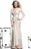HYL New Noble Champagne Chiffon Beadiing Woman's Formal Evening Dresses V-Neck Long Sleeve Floor Length Prom Dresses Custom Size
