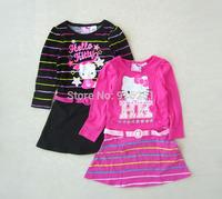 new arrival baby toddler girls  cartoon Hello Kitty longsleeve dress with belt autumn summer
