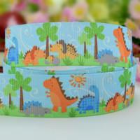 Wholesale lot  Cartoon Dinosaur Grosgrain Ribbon for  DIY  hair accesory , GIFT WRAPPING  22mm
