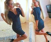 New Fashion Summer 2015 Women Casual Half Sleeve V-Neck Elegant Sexy Party Dot Dresses