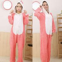 Free Shipping Unisex Hello Kitty Cartoon Animal Adult Onesie Sleepwear Cosplay Pajamas Costume