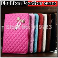 Hot Rhinestone Bow Rhombus Plaid Flip stand Leather cover Case For ipad Air ipad 5 Air mini 1 2 3,Free shipping