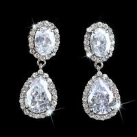 New Women Fashion Classic Style SWA Element Crystal Alloy Chandelier Drop Earrings Bridal Wedding Silver Ear Stud Jewelry LE1014