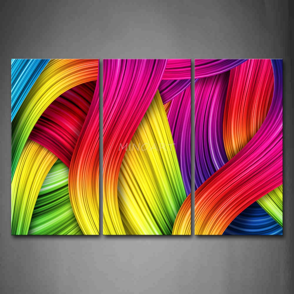 3 Piece Wall Art Painting Colorful Lines Crowd Print On Canvas The Picture Abstract 4 Pictures Oil Prints For Home Decor(China (Mainland))