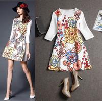 2015 New Europe fashion women , High quality brand dress, Retro digital print dress,Lady/Women dresses  free shipping