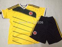 High  Quality Colombia  Home  yellow   2014  season    Football  shirt +  Black  shorts     Soccer  jersey   Free Shipping