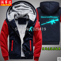 Hung things up, men's cashmere cardigan luminous silver fox zip hooded Hoodies thick padded jacket firearms CF
