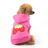 Small Pet Dog Apparel Cute Strawberry Hoodie Warm Soft Coat XS S M L XL XXL Wholesale Free Shipping