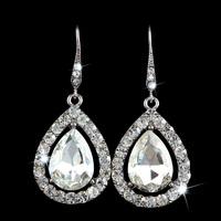 Women SWA Element Crystal Rhinestone Teardrop Silver Plated Drop Stud Party Bridal Wedding Earrings Big Chandelier Long Jewelry