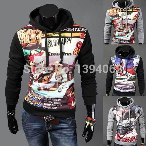 Men hoodies 2015 new male hip hop tracksuits mens fleece sport Suit men sweatshirt men hoody S-XXL ,printed Suit Hoody jacket(China (Mainland))