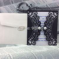 free shipping elegant laser cut wedding invitation card with pearl buckle