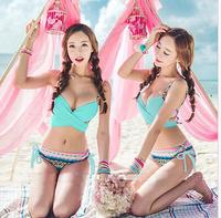 2015 New Free Shipping SUMMER Sexy Women Bandage Bikini Set Push-up Padded Bra Swimsuit Swimwear H2309