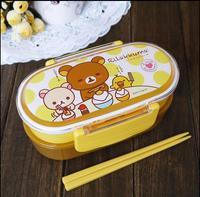 Brown Microwave Rilakkuma Bento Multilayer Children Lunch Box food storage boxes for kids