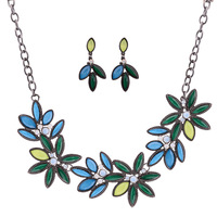 New Bohemia Colorful Big Charms Flower Pendants Crystal  Chunky Necklaces & Drop Earring Statement Jewelry Sets