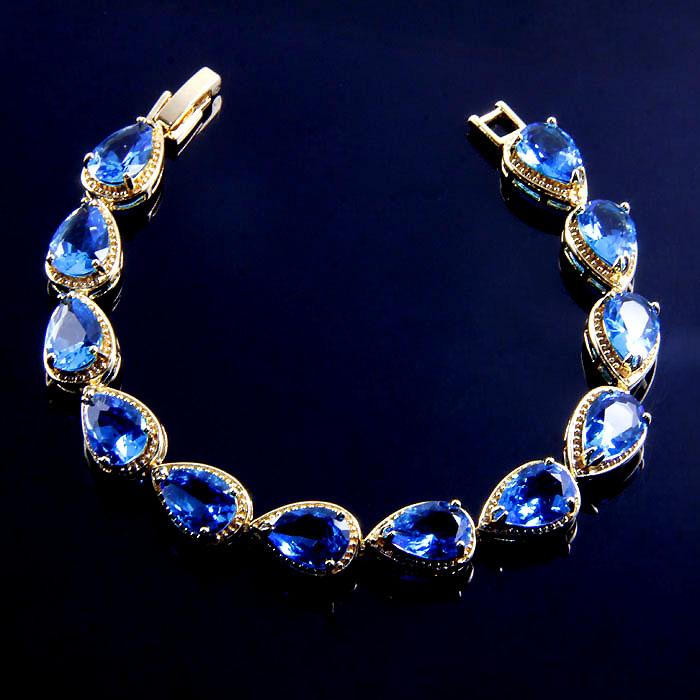 B110 size 18cm 18k gold plate 168JEWELRY classy EYE-CATCHING blue sapphire Bracelets EK0001-7(China (Mainland))