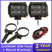 OSRAM 2x30W Flood Beam Offroad LED Work Light Bar+Mount Brackets ATV Wagon Motorcycle SUV 4WD 4X4 LED Driving Headight 12V/24V
