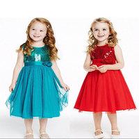 2015 Top outono inverno miudos crianca meninas princesa vestido sem mangas brilho vestido com arco 3-8 ano venda quente