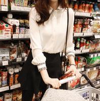 Fast/Free shipping 2015 Fashion Korean Spring Clothing Casual Blusas Femininas Chiffon Patchwork Blouse Women Blouses C8633