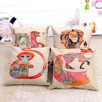 Hot 100% linen handmade embroidery pink animals sofa cushion cover pillow cover 45x45cm elegant comfortable throw pillows case