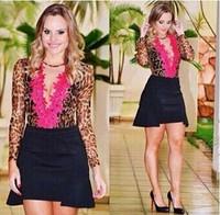 New Arrival Hot Sale Leopard Printed Long Sleeve European Fashion Sheath Dress For Women Sexy Lace V Neck Stylish Club Dress
