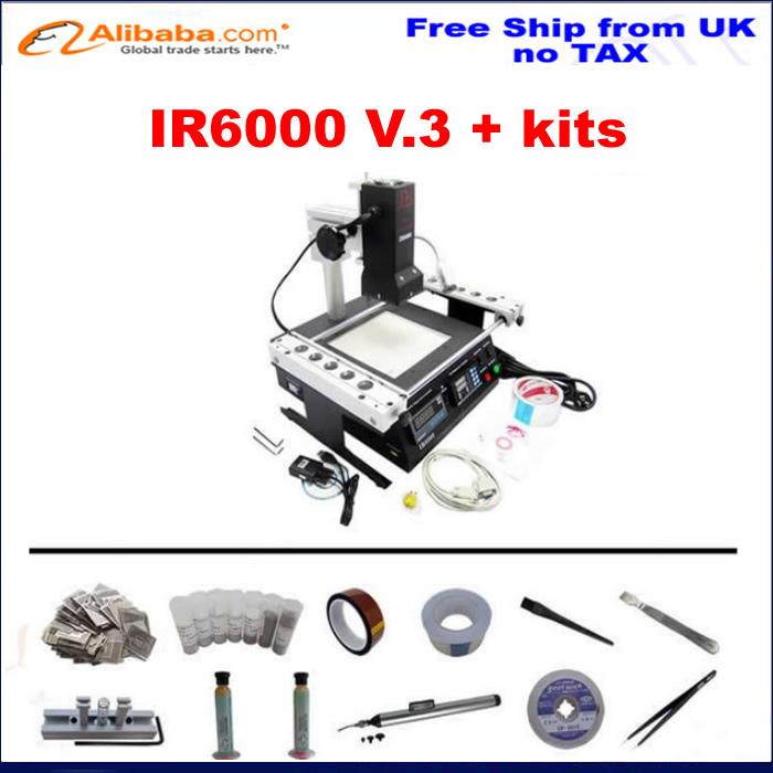 EU countries free ship , No tax! ir6000 V.3 bga rework station infrared ,upgrad from IR6000 V1,with bga reballing kits stencil(China (Mainland))