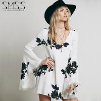 2015 desigual spring summer V-neck flare sleeve chiffon print plus size casual women dress vestidos femininos vestido